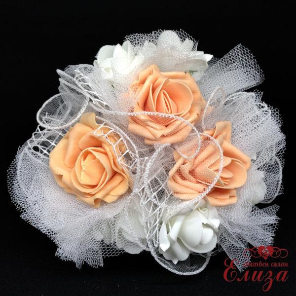 Сватбен букет за хвърляне от големи рози R10 праскова