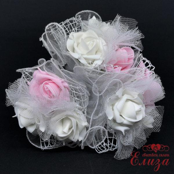 Сватбен букет за хвърляне в розово и бяло R12