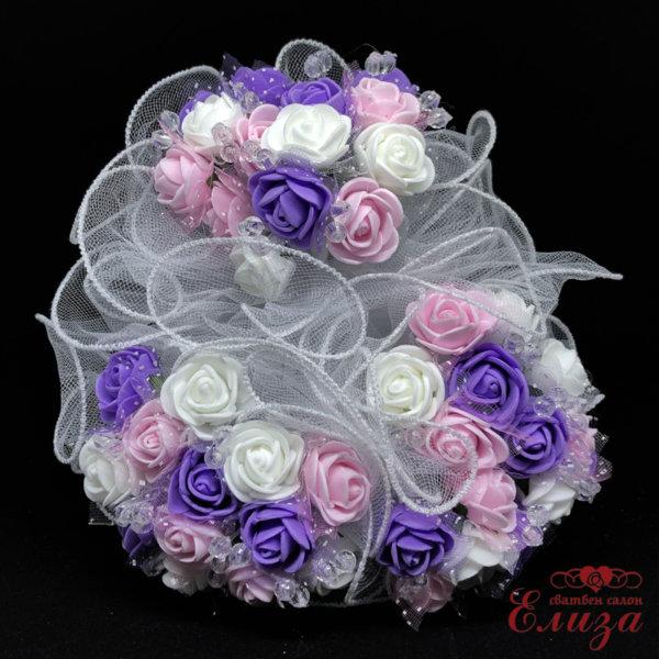 Булчински букет за хвърляне в розово, лилаво и бяло R13