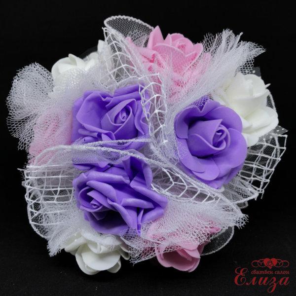 Сватбен букет за хвърляне от големи рози R14 бяло, розово и лилаво