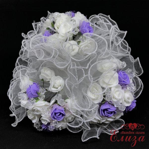 Сватбен букет за хвърляне от малки рози R15 лилаво