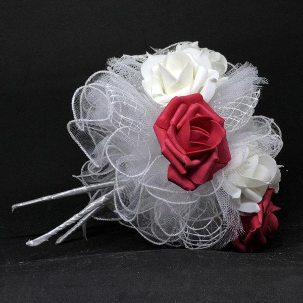 Сватбен букет за хвърляне от големи рози R18 бордо