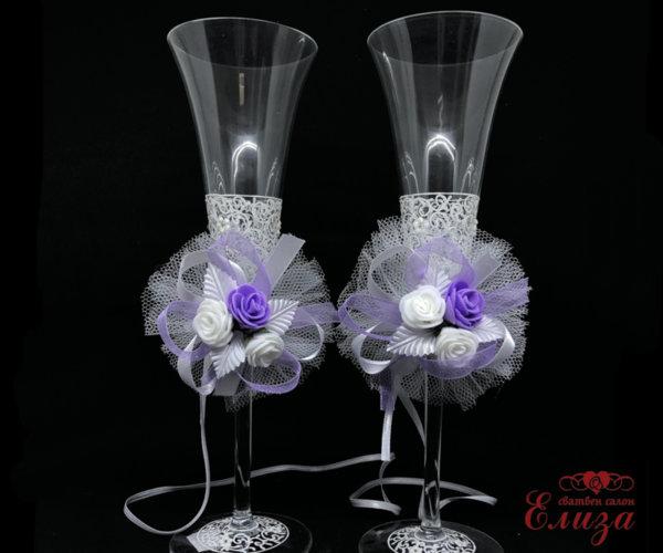 Украса за ритуални свещи и чаши в лилаво N2