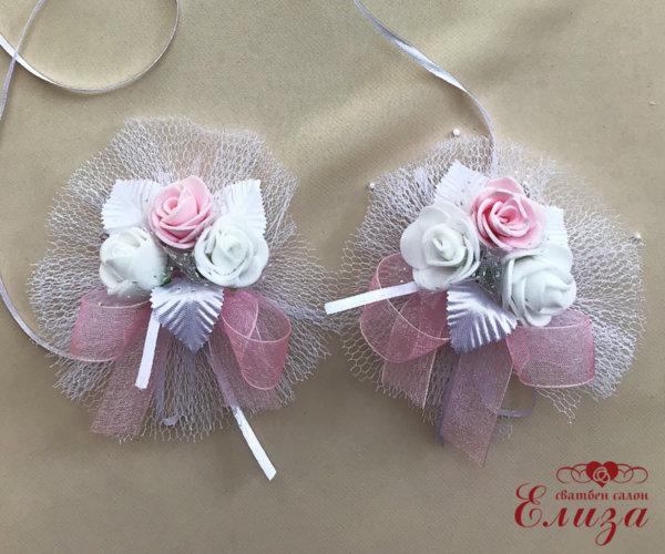 Сватбена украса за ритуални свещи и чаши в светло розово и бяло N4