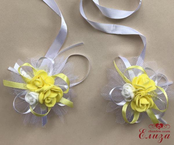 Сватбена украса за ритуални свещи и чаши в жълто N9