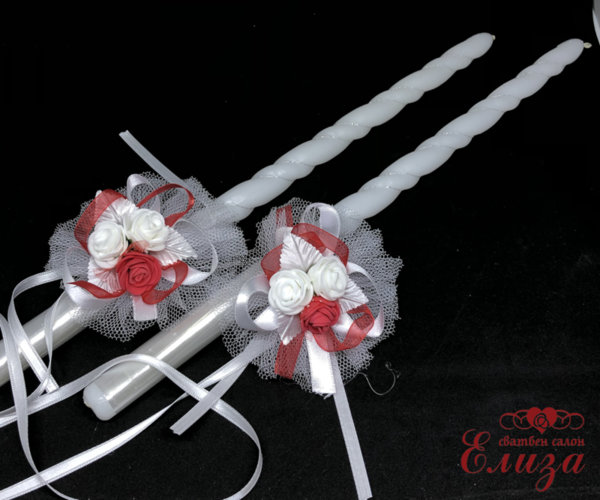 Сватбена украса за свещи и чаши в червено N10