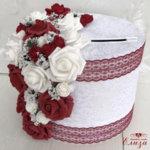 Сватбена кутия за пари в бордо и бяло C6