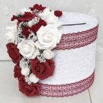 Сватбена кутия в бордо