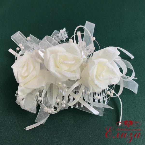 Сватбена диадема с гребен за коса в екрю