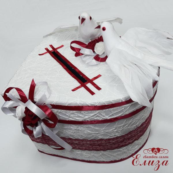 Сватбена кутия за пари СЪРЦЕ в бяло и бордо H31