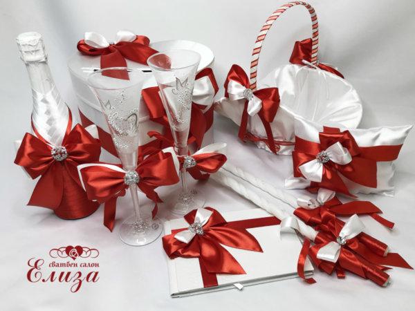 Сватбени аксесоари с червени панделки K1