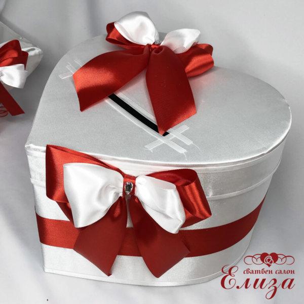 Сватбена кутия за пари СЪРЦЕ от панделки H32