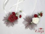 Украса за сватбени чаши с бордо рози