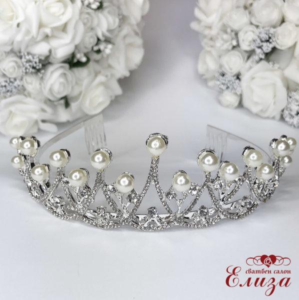 Булчинска корона за коса с камъни и перли K3