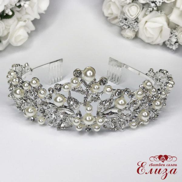 Сватбена корона за коса с камъни и перли K4