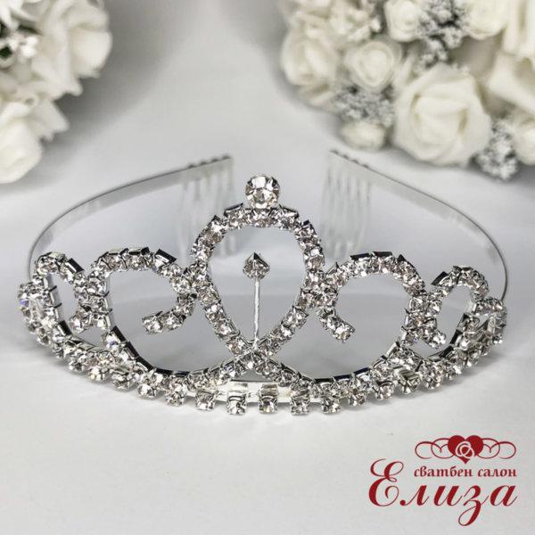 Булчинска корона за коса с камъни K8