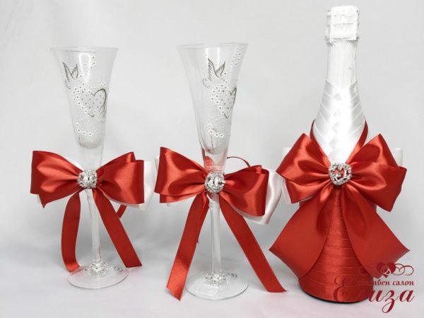 Сватбен  комплект панделки шампанско и украса за чаши C1