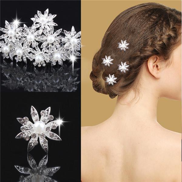 Фуркети за коса с камъни и перла във формата на цвете F1