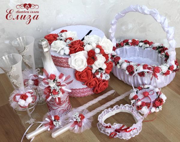 Сватбен комплект аксесоари от рози К6