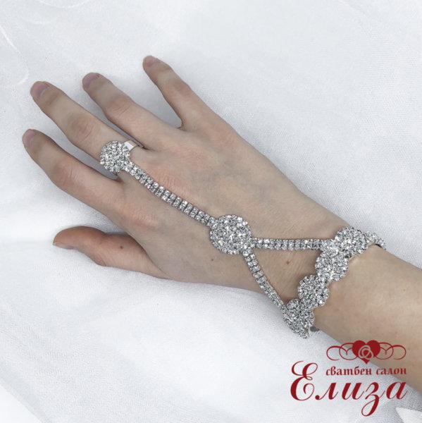 Сватбена гривна с пръстен и камъни B9