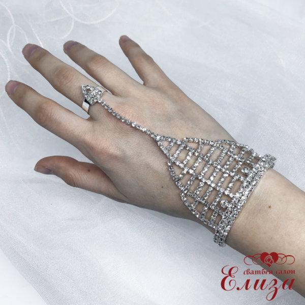 Сватбена гривна с пръстен и камъни B10