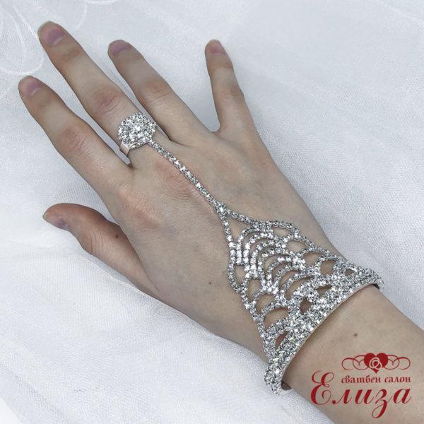 Сватбена гривна с пръстен и камъни B11