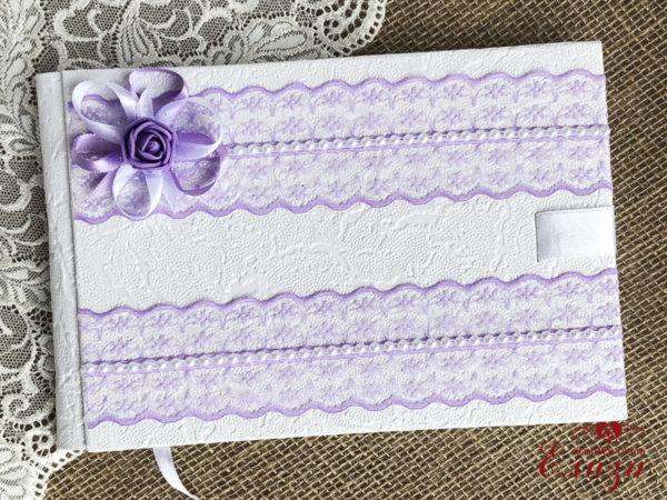 Сватбена книга за пожелания с лилава дантела B12