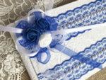 Сватбена книга за пожелания с дантела в тъмно синьо B13