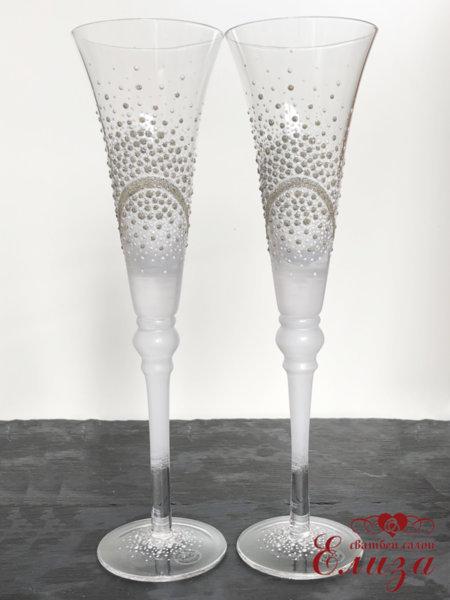 Сватбени ритуални чаши със сребърна декорация T20
