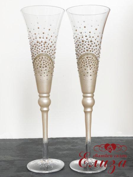 Сватбени ритуални чаши със златна декорация T21