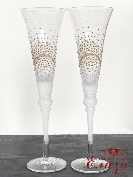 Сватбени ритуални чаши със златна декорация T23
