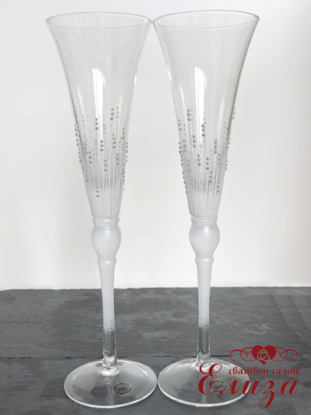 Сватбени чаши за граждански ритуал със сребърни точки T24