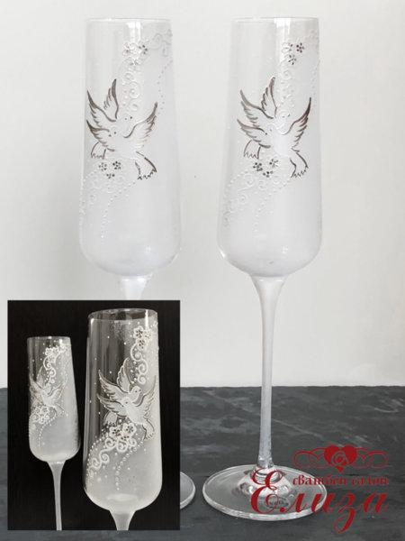 Сватбени ритуални чаши със сребърни елементи N1