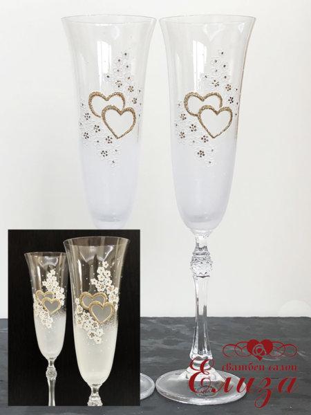 Кристални сватбени ритуални чаши със златни елементи L1