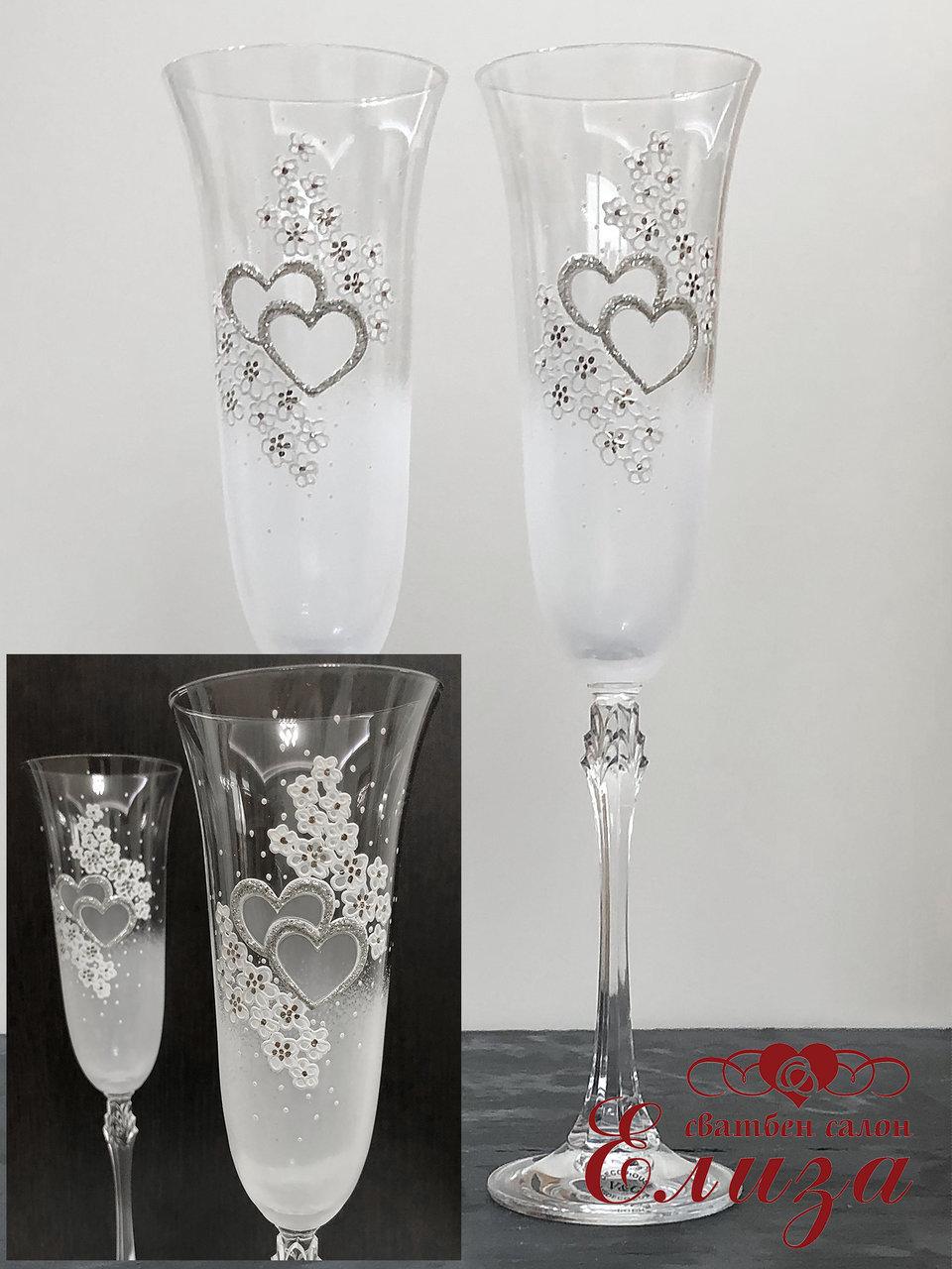 Кристални сватбени ритуални чаши със сребърни елементи