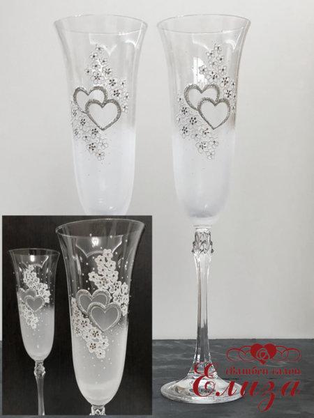 Кристални сватбени ритуални чаши със сребърни елементи L2
