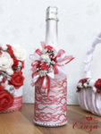 Сватбен комплект аксесоари - букети, шампанско и кошница К14