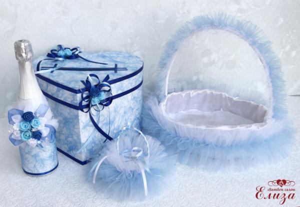 Сватбени аксесоари в тъмно и светло синьо K15