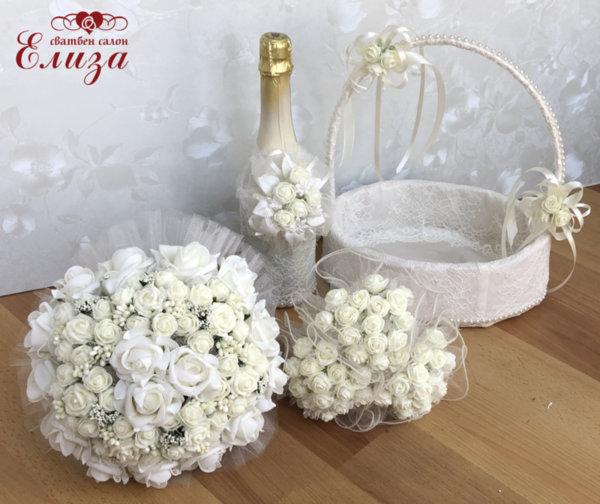 Сватбен комплект в екрю от два букети, шампанско и кошничка К21