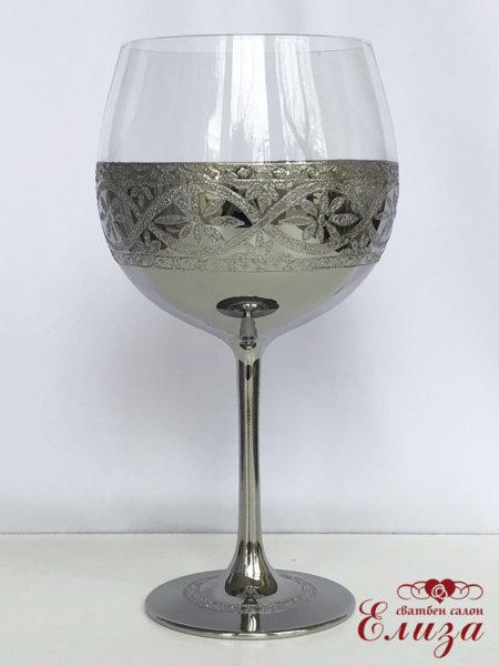 Сватбен бокал със сребърна декорация B12