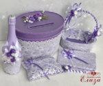 Сватбени аксесоари в лилаво с луксозна дантела K24