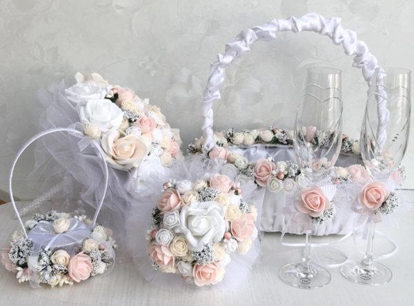 Сватбени аксесоари в пудра и розова праскова K28
