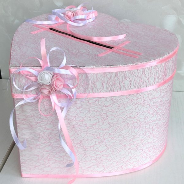 Кутия за пари за сватба с розова мрежа H29
