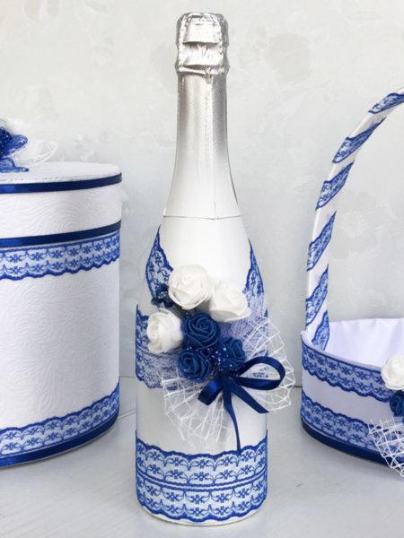 Сватбено шампанско с украса в тъмно синьо 58