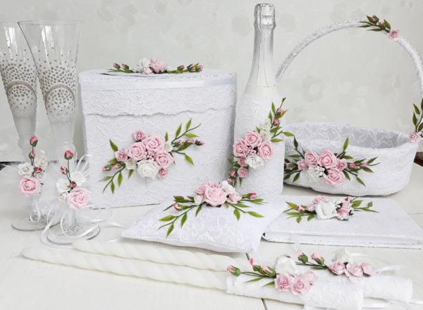 Сватбени аксесоари с дантела и розови рози K31