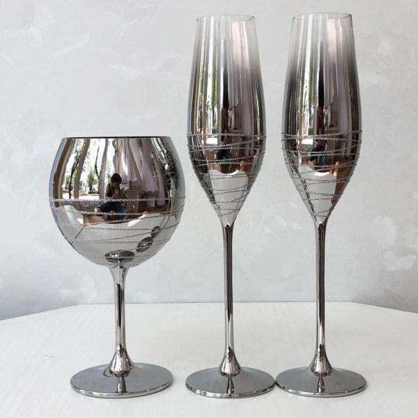 Сватбени сребърни чаши и бокал K33