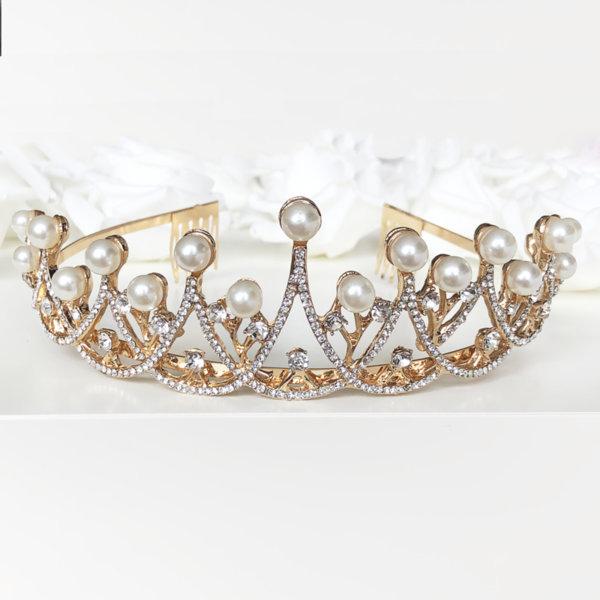 Златна корона за коса с перли и камъни K10