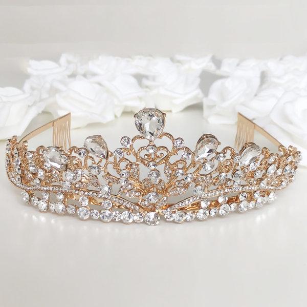 Корона за коса - златна с камъни K11