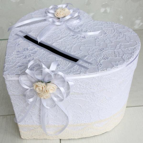 Кутия за сватбени пожелания в пудра и бяло H37