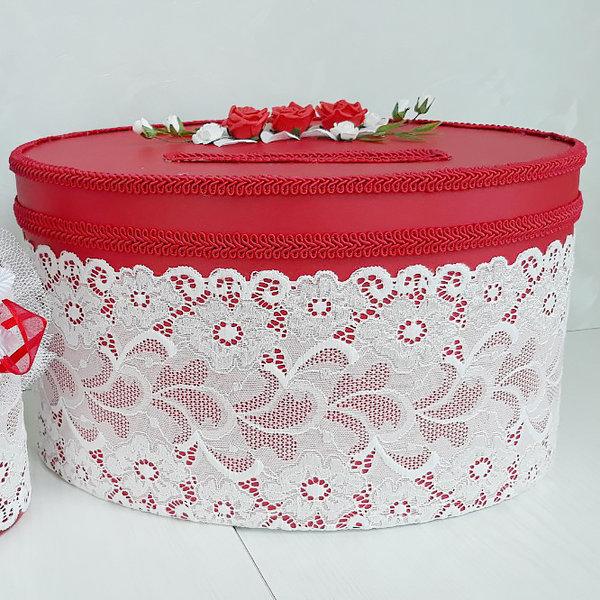 Кутия за пожелания и пари в червено с луксозна дантела C27